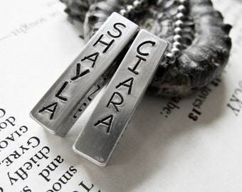 Hand Stamped Jewelry Two Bar Necklace Keychain Custom Made for Moms or Dads - Personalized with Name on Chunky Metal Bar