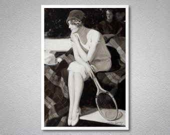 The Tennis Player  Vintage Poster by M. Barclay - Poster Paper, Sticker or Canvas Print / Gift Idea