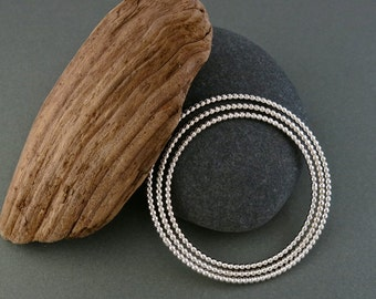 Thick Sterling Silver Beaded Stacking Bangle