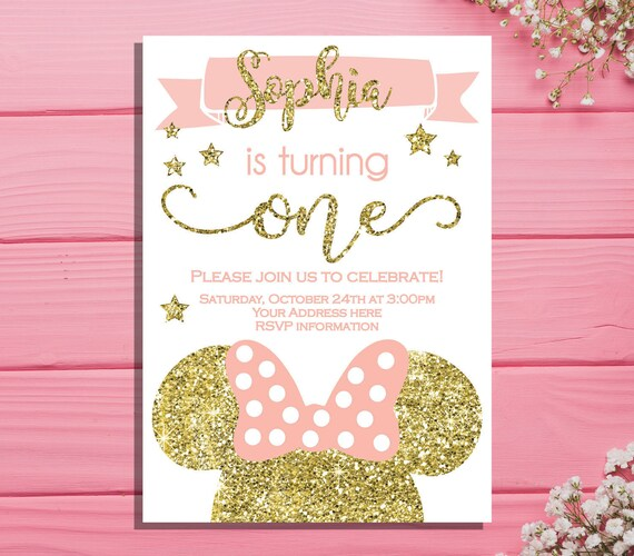 Minnie mouse first birthday invitation minnie birthday party filmwisefo