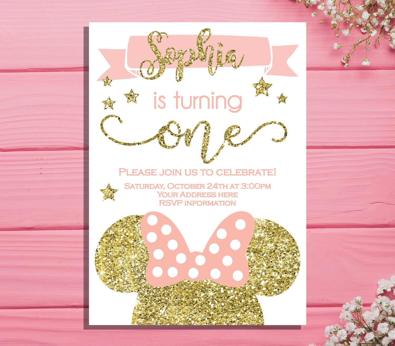 Minnie mouse first birthday invitation minnie birthday party zoom kristyandbryce Image collections