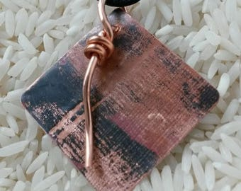 Textured flame painted diamon shaped artisan copper pendant