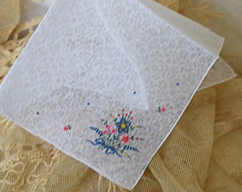 Super Sweet White 1950's Vintage Handkerchief Floral Embroidery Bouquet 4 Corner Women's Hankie Accessory Wedding Bridal Borrowed