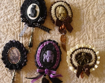 Victorian Gothic Brooches , several styles available , Antique style , Mourning  , Steampunk, Haunted Mansion, Cat...each one is OOAK!!!