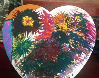 "Hand Painted Bohemian Wood Bursting Heart 14""Wx14""Hx1""D  W0241"