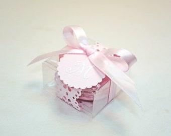 Pink Doily Shower Favors, Favor Boxes - 30 Favor Boxes, Bridal or Wedding Favors