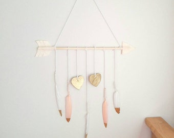 Blush Pink, White & Gold Girl Baby Mobile | Bohemian Feather Arrow Nursery Decor | Gold Heart Princess Nursery | Little Girls Room Wall Art