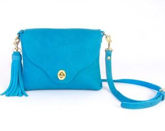 "Blue Leather Handbag ~ ""AVERY"" Cross Body Bag"