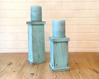 Wood Pedestal Candle Holders, Pillar Candle Stands, Candle Holder Set, Rustic Decor, Wood Decor, Reclaimed Wood, Teal Decor