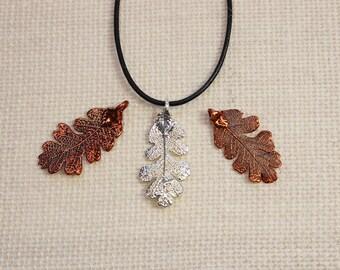 SALE Leaf Necklace, Lacey Oak Leaf, Silver Leaf, Real Leaf Necklace, Oak Leaf, Silver Birch Leaf Pendant, Copper Leaf, Boho Necklace SALE22