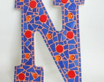 "Letter N Mosaic Wall Decor: Blue & Orange 9"""