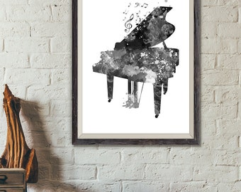 Piano Print Black and White No3, Piano Watercolor Print, Music Wall Art, Music Poster, Music Instrument Poster, Piano Art (A0329)
