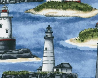 Fat Quarter Beacon Lighthouses Cotton Quilting Sewing Fabric