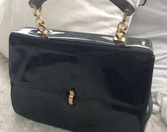 Lovely Black Shiny Patent Leather Morris Moskowitz Handbag with Sweet Polished Wood Top Handle Gorgeous!!