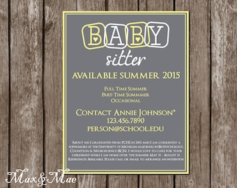 Babysitting Flyer, Babysitting Announcement, Personalized Babysitting Sign, Digital File