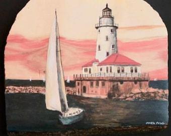 Chicago lighthouse on box elder wood