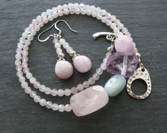 Rose Quartz Jewelry Set Rose Quartz Necklace Rose Quartz Earrings Amethyst Necklace Kunzite Earrings Pink Stone Necklace Aquamarine Stone