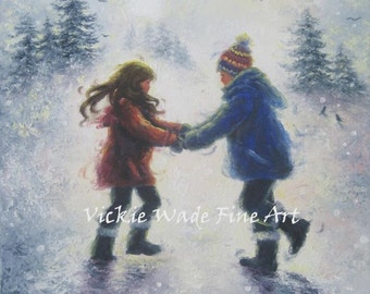Snow Boy and Girl Art Print brother sister winter snow playing holding hands, snow children print from oil painting, Vickie Wade Art