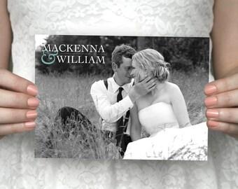 DIY printable modern wedding photo thank you card - Mackenna & William.