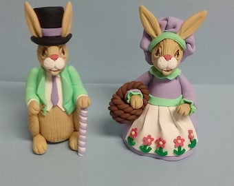 Hand Sculpted Deluxe Easter Mr. and Mrs. Bunny Couple in Polymer Clay