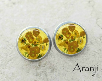 Van Gogh Sunflowers earrings, Sunflowers earrings, Van Gogh earrings, fine art earrings, Van Gogh jewelry, Van Gogh stud earrings, AR137E