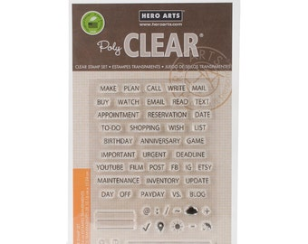 "Sale! Hero Arts 4""x6"" Clear Stamps - Plan - Planner Stamps/Category Titles/Check List"