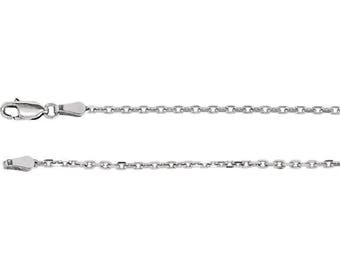 Sterling Silver Diamond Cut Cable Chain, 16 inches Long 2 mm  - CH524-16