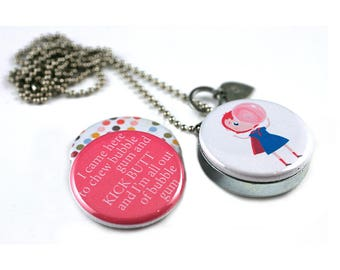 BubbleGum Locket Necklace • Bubble Gum Girl • Locket For Young Girl • Magnetic • Gift for Her • Bubble Gum Super Hero KICKS Butt • Recycled