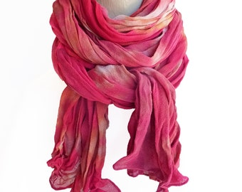 Red scarf, red silk scarf, red chiffon scarf, red crinkle scarf, trending now, best selling items, womens scarves, best selling items