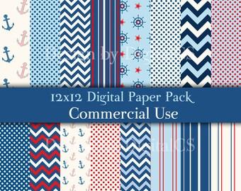 Nautical digital paper Chevron digital paper Nautical paper nautical  Anchor digital paper Blue red digital paper Commercial