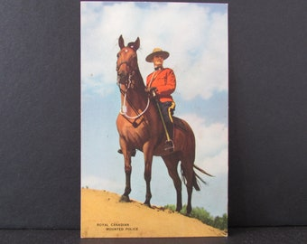 1940's Royal Canadian Mounted Police PostCard/ RCMP, mounted on Horse, police on horseback Post Card, Unused, 1948, A-P 1