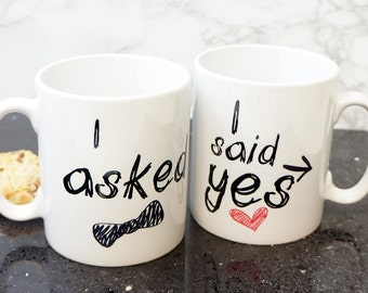 Engagement Gift Coffee Mug Set. I Said Yes and I asked Gift for the Couple  Gift Set
