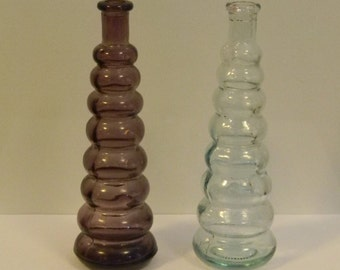 Antique Style Ribbed Glass Bottles - Amethyst Purple Bottle and Clear Glass Bottle - Fun Part For Steampunk Ray Gun Crafting - Lot of 2