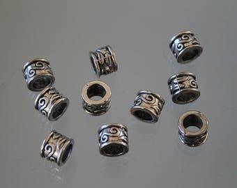 10 round bead silver metal - 9 mm - ethnic - charm
