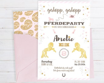 Invitation card for the children's birthday * with horse motif for printing * personalizable & Individual