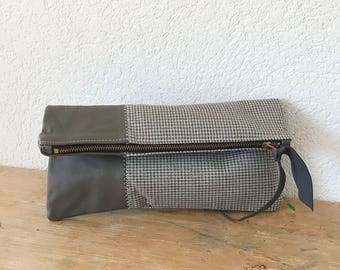 Leather Clutch in Dark Grey Cowhide Italian Leather and Blended European Wool and Silk - Indie Patchwork Series