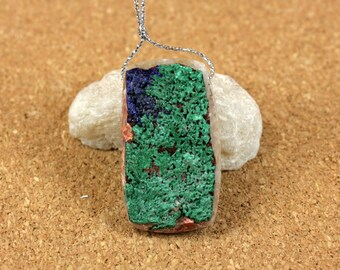 Malachite and Azurite Druzy Rectangle Pendant - Blue and Green Rough Matte Top Drilled Pendant