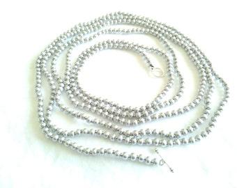 Extra Long Silver Wrap Necklace Long Silver Necklace  Beaded Necklace  Silver Chain Choker Wrap Choker Layering Necklace Vintage Look Gypsy