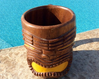 Vintage Tiki Mug, Yellow, Monkeypod, Wood Cup, Coastal, Tropical, Beach, Tiki Bar, Man Cave