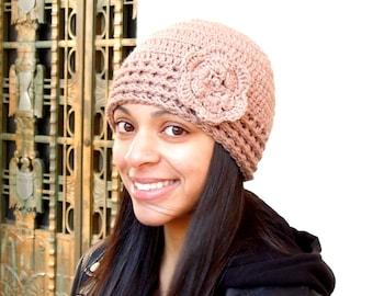 Crochet Hat, Crochet Beanie, Cloche Hat, Crochet Flower Hat,Adult, Color is Soft Taupe,