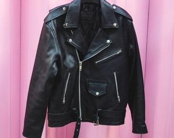 80's Style Classic Black Leather Biker Jacket (Oversized)