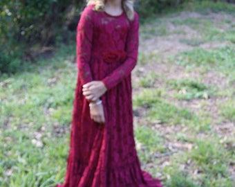Flower Girl Dress-Burgundy Lace Long Sleeve Dress- Baby Flower Girl Dress- Dresses- Ivory Girls Dress-Cream Dress- Rustic Wedding Dress