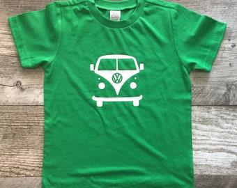 Boys Unisex Volkswagen Volkswagon Bus short Sleeve Green WHite T Shirt modern graphic trendy tee maroon Onesie Kids TSLM
