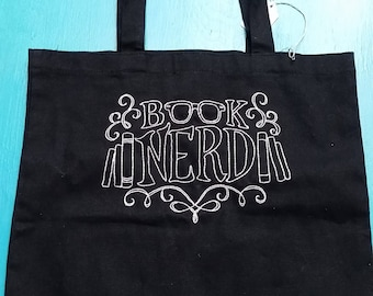 Book Nerd- hand embroidered canvas tote