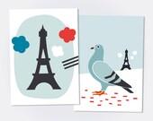 BONJOUR PARIS / Lot de 2 cartes postales