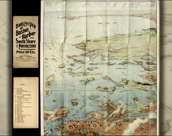 Poster, Many Sizes Available; Birdseye View Map Of Boston Harbor And South Shore To Provincetown  Showing Steamboat Routes 1905