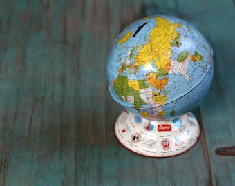 """Ohio Art Co. Metal World Bank with Airlines, Globe Bank, Vintage 7 1/2"""" Globe, Vintage Globe, Globe, Vintage Tin Globe Bank, Vintage Bank"""