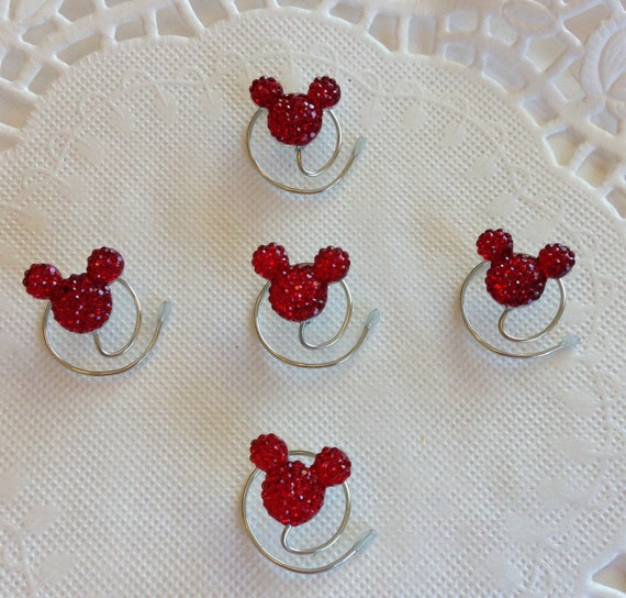 Disney Wedding MOUSE EARS Hair Swirls Bright Red Acrylic Coils Twists Twirls Spirals Spins