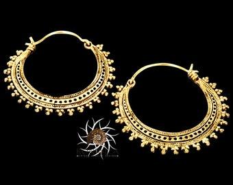 Brass Earrings - Brass Hoops - Gypsy Earrings - Tribal Earrings - Ethnic Earrings - Indian Earrings - Tribal Hoops - Indian Hoops (EB17)