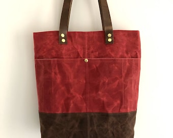 Waxed Canvas Tote Bag, Brick Red And Brown Tote, Everyday Bag